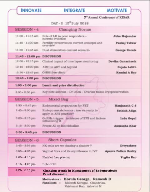 KISAR 2018 Schedule